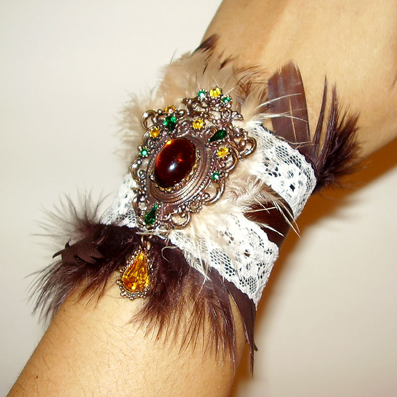 Vintage Brooch Boudoir Chic Brown Feather Lace and Ribbon Cuff B