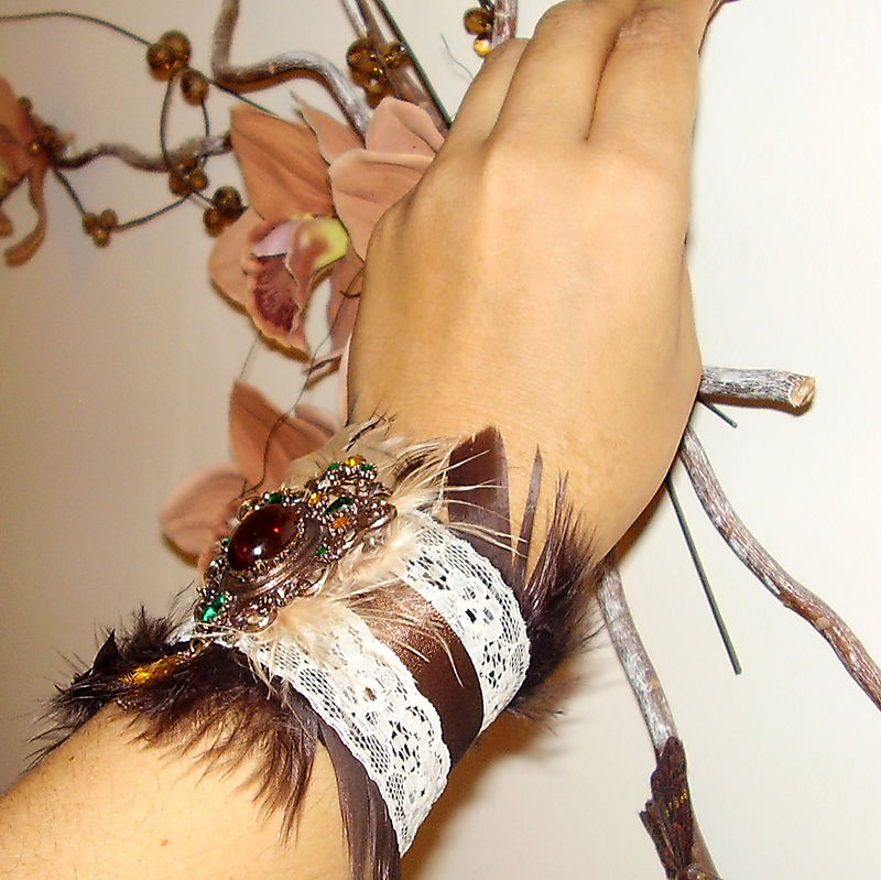 Vintage Brooch Boudoir Chic Brown Feather Lace and Ribbon Cuff C