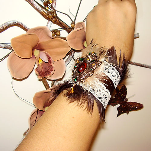 Vintage Brooch Boudoir Chic Brown Feather Lace and Ribbon Cuff D