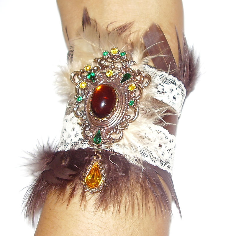 Vintage Brooch Boudoir Chic Brown Feather Lace and Ribbon Cuff A