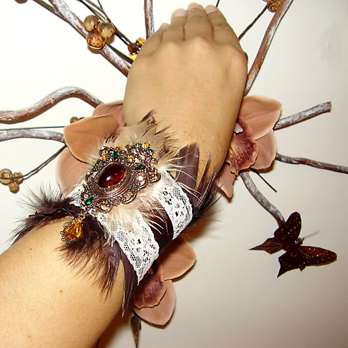 Vintage Brooch Boudoir Chic Brown Feather Lace and Ribbon Cuff E