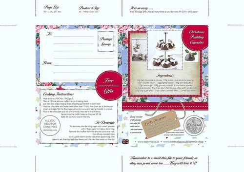 Christmas Cupcake Postcard - www.dommie.co.uk
