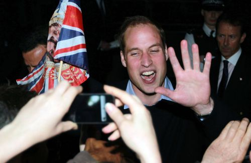 Prince william chatting to the crowds