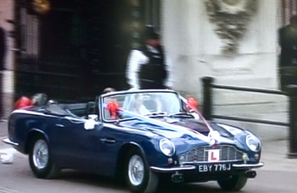 Kate catherine middleton and prince william leave in an aston martin